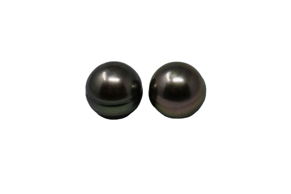 8.4mm Tahitian Pearl Stud Earrings, Sterling Silver