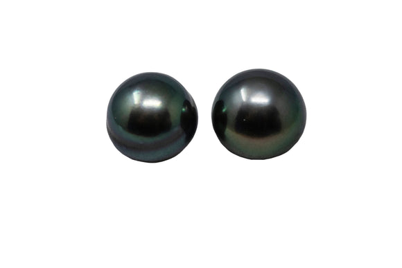 9.5mm Tahitian Pearl Stud Earrings, 14K Gold