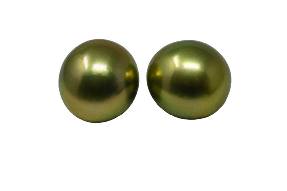 12mm Tahitian Pearl Stud Earrings, Colored Pistachio, 14k Gold