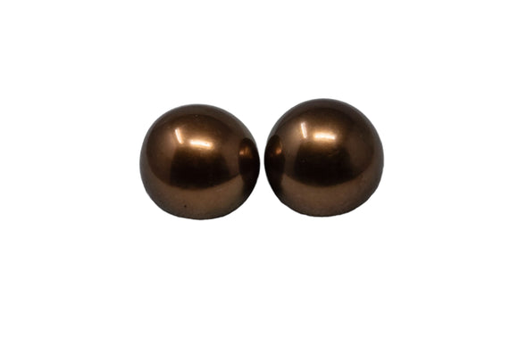 9.6mm Tahitian Pearl Studs, Colored Chocolate, 14k Gold