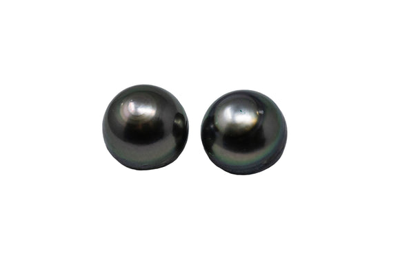 8.9mm Tahitian Pearl Stud Earrings, Sterling Silver