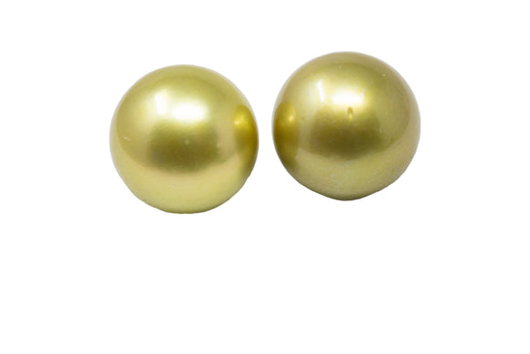 11.5mm Tahitian Pearl Stud Earrings, Colored Pistachio, 14K Gold