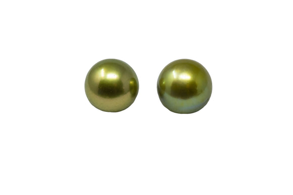 8mm Tahitian Pearl Stud Earrings, Colored Pistachio 14K Gold