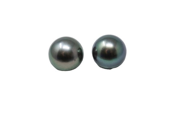 9.8mm Tahitian Pearl Stud Earrings, 14K Gold