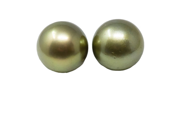 12.2mm Tahitian Pearl Stud Earrings, Colored Pistachio, 14K Gold