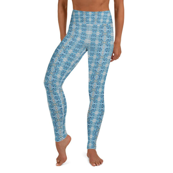 Pacific Blue Topaz High Waist Yoga Leggings
