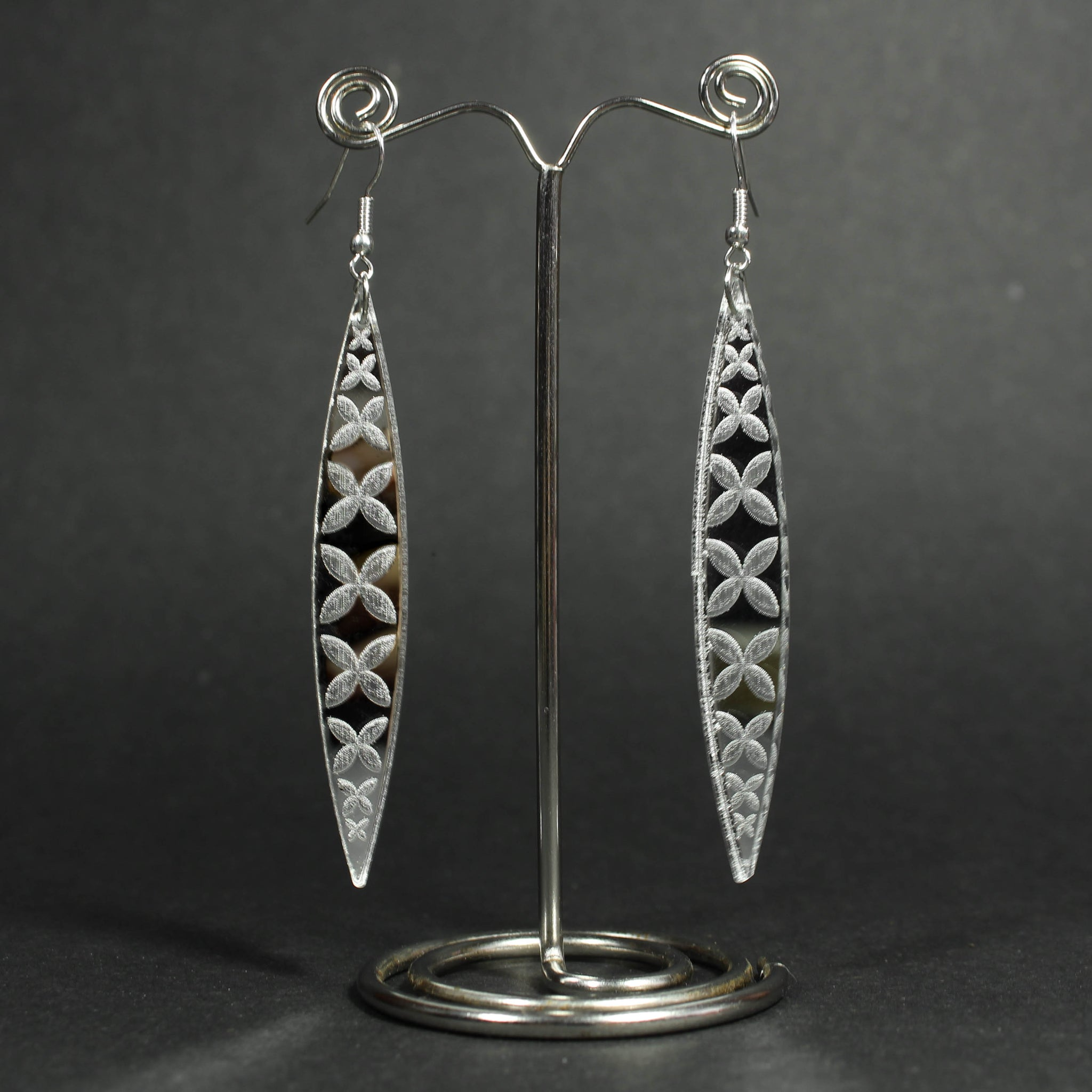 Tapa Flower Reflective Earrings