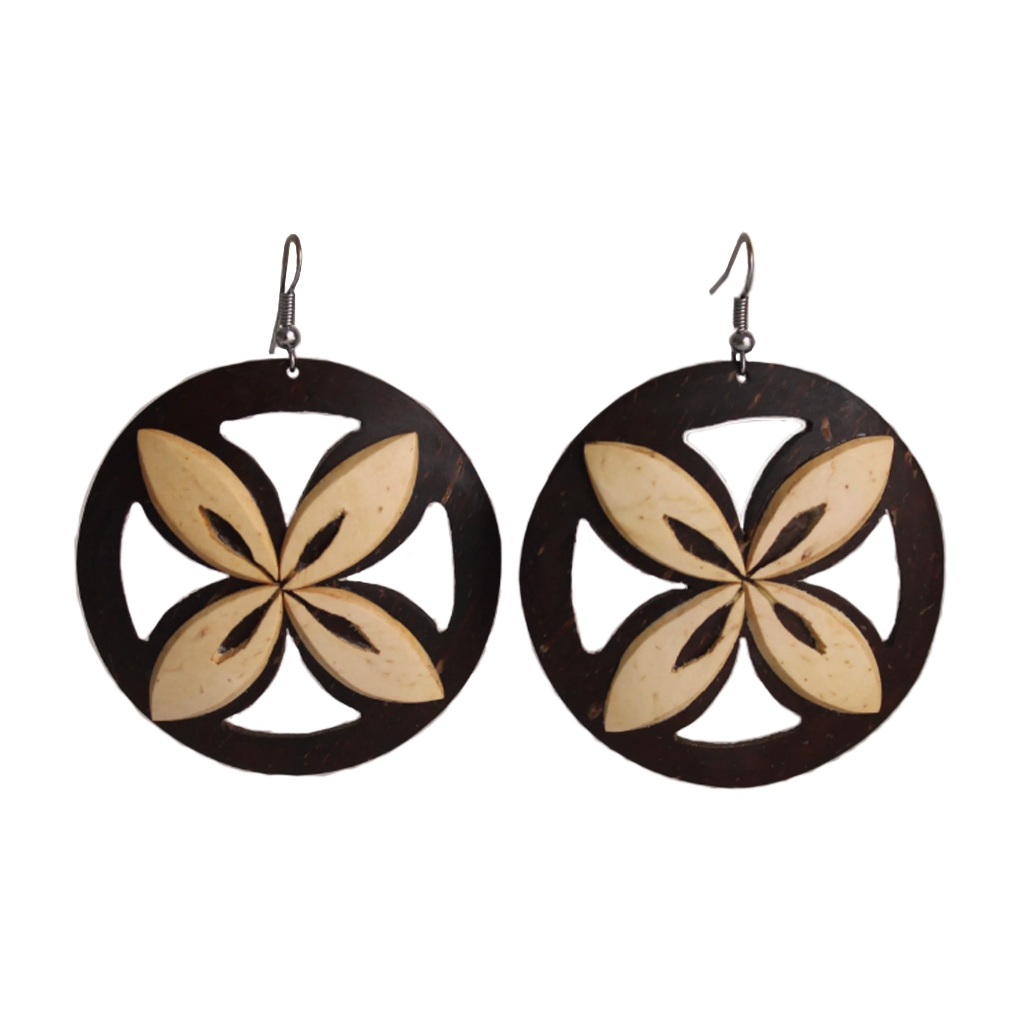 Coconut Earrings - Round Tapa Dark