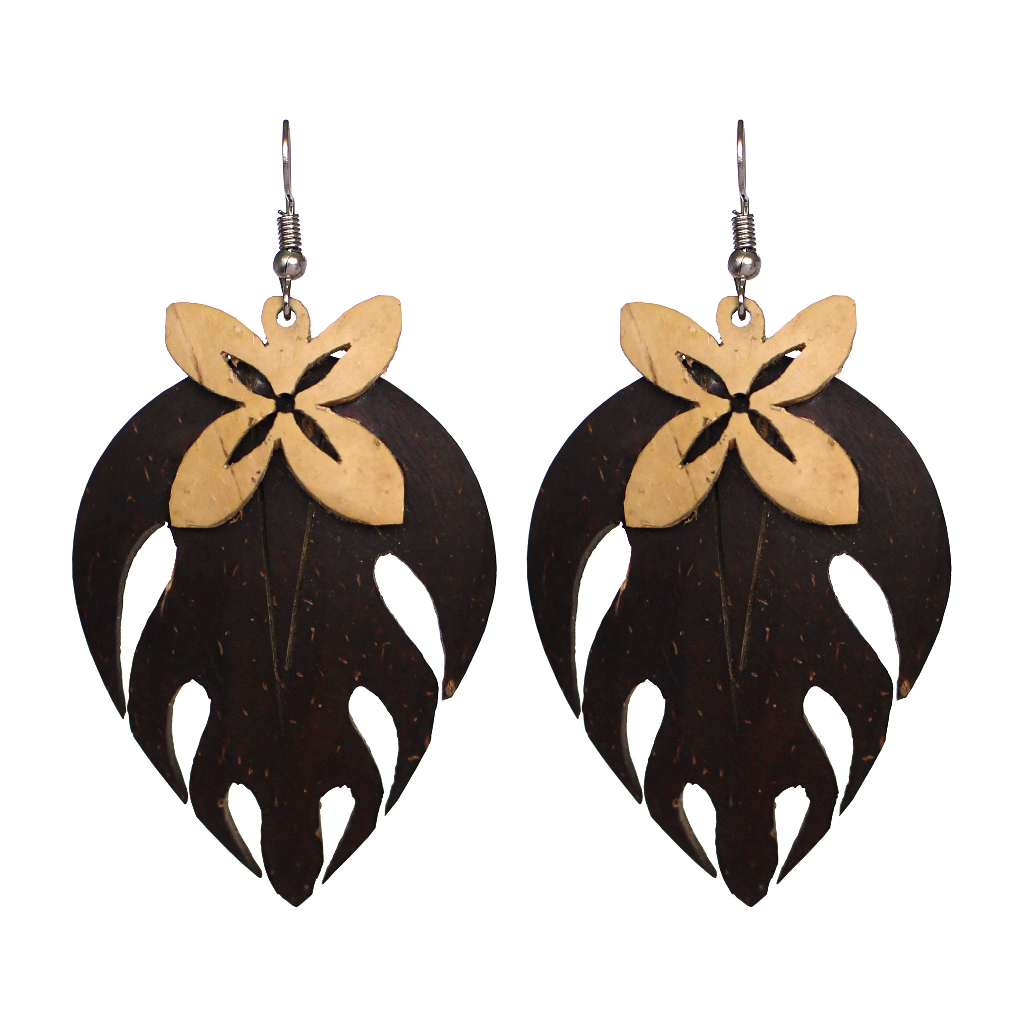 Coconut Earrings - Tapa Leaf