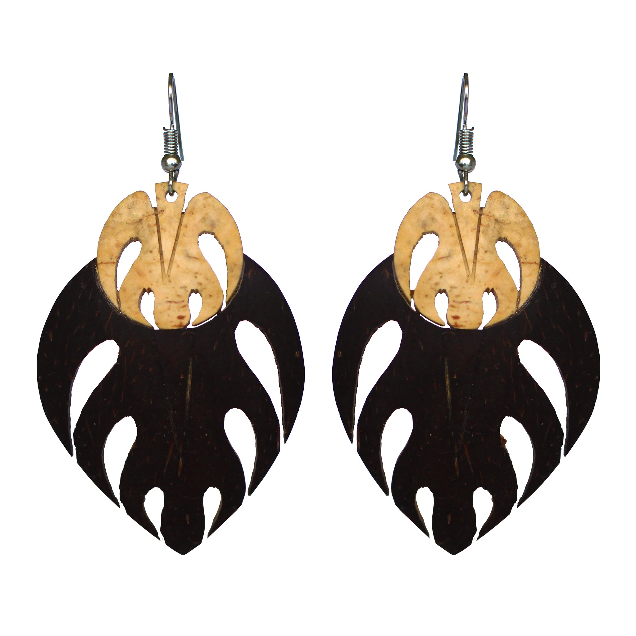 Coconut Earrings - Double Lau Ulu
