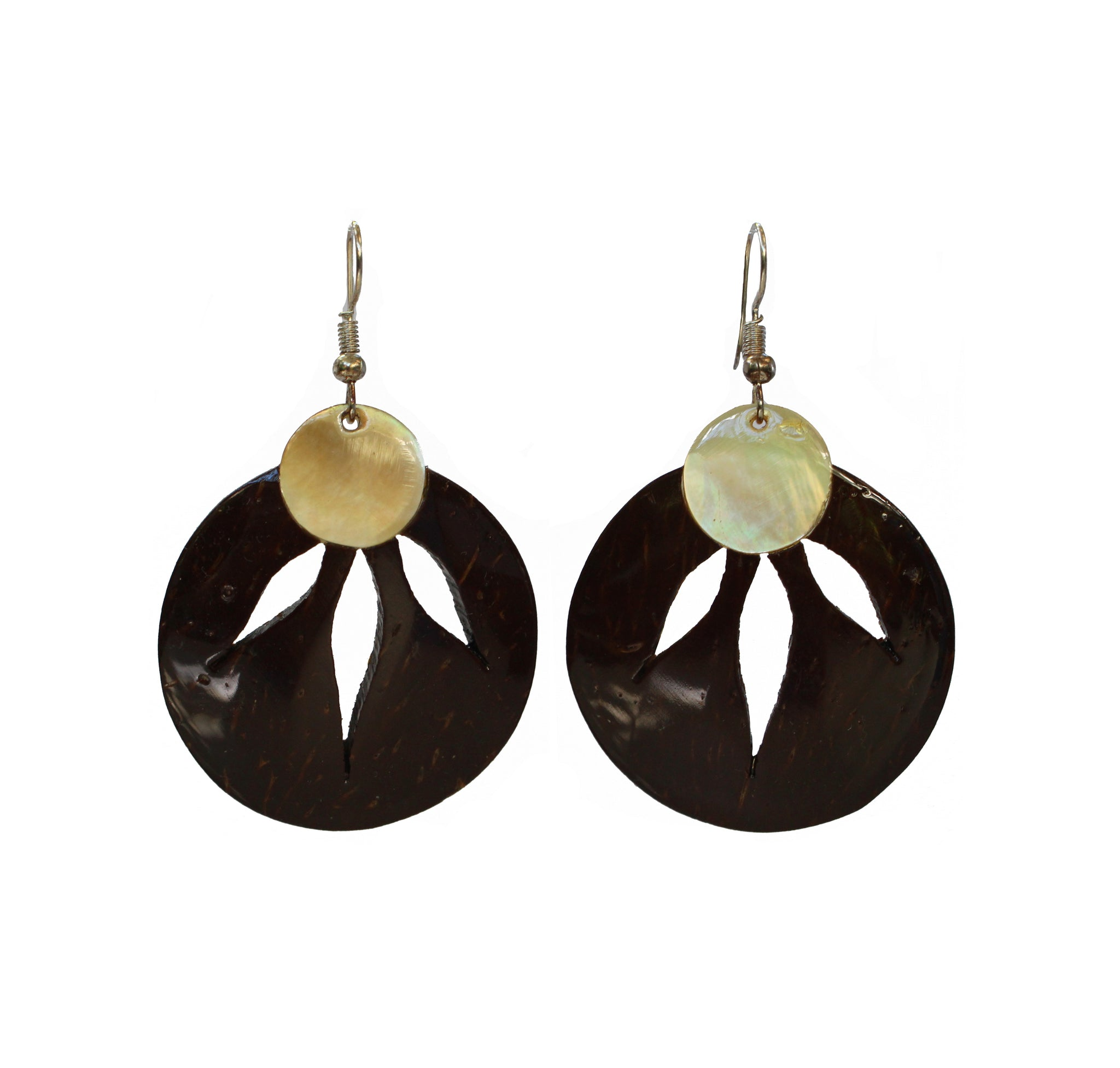 Coconut Earrings - 3 Leaf Mother of Pearl