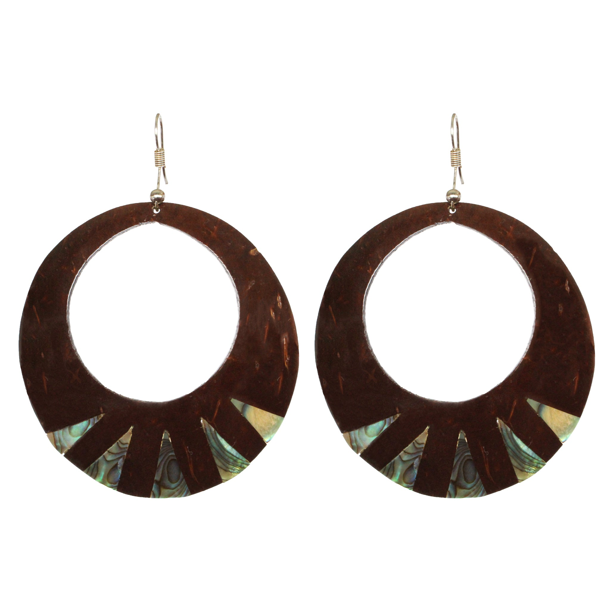 Coconut Earrings - Round Paua