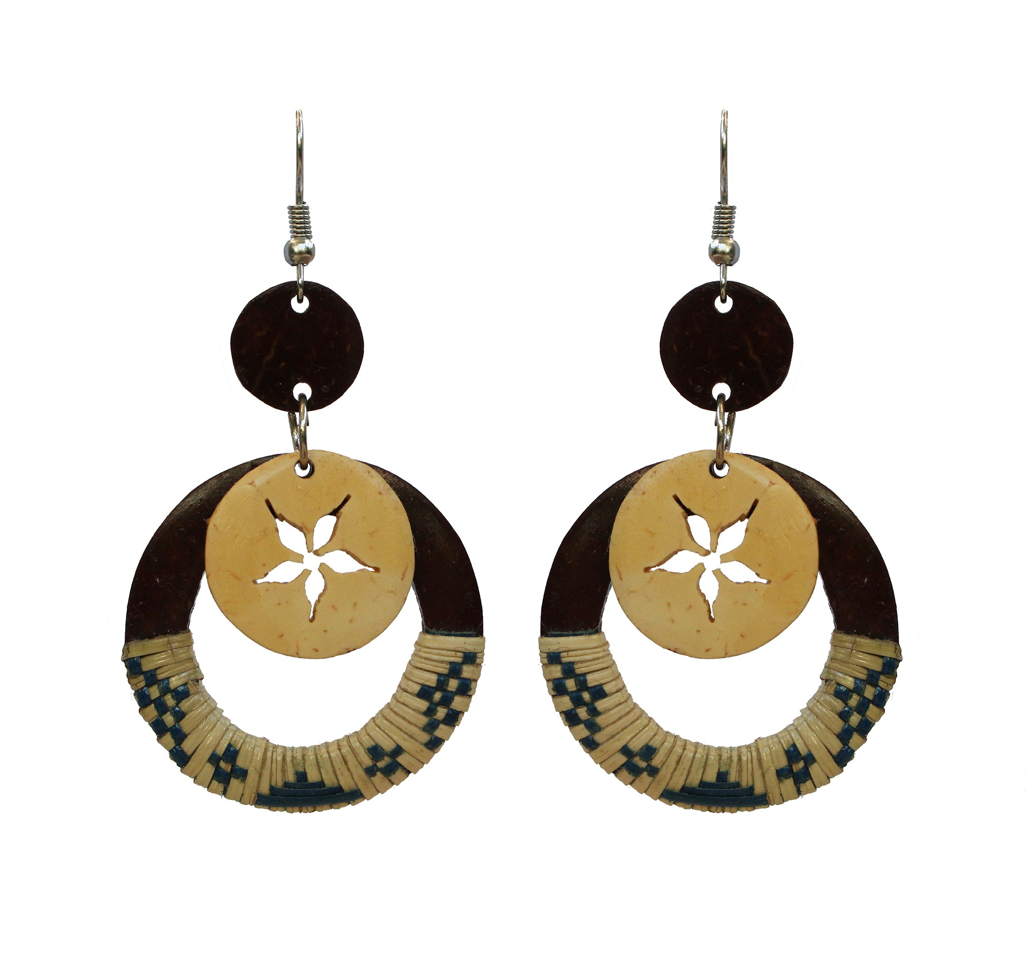 Coconut Earrings - Dangle Woven Flower