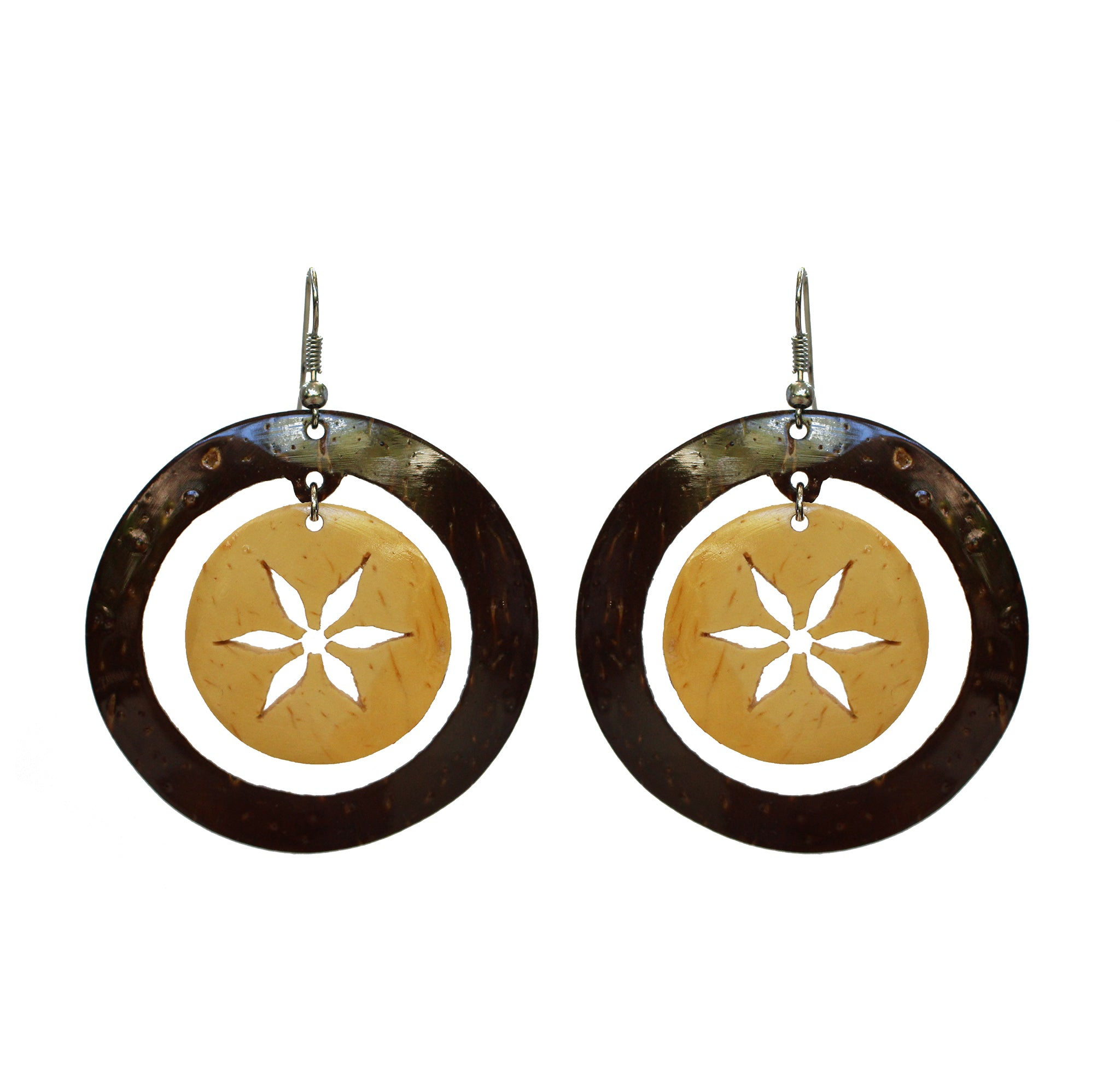 Coconut Earrings - Floral Circle