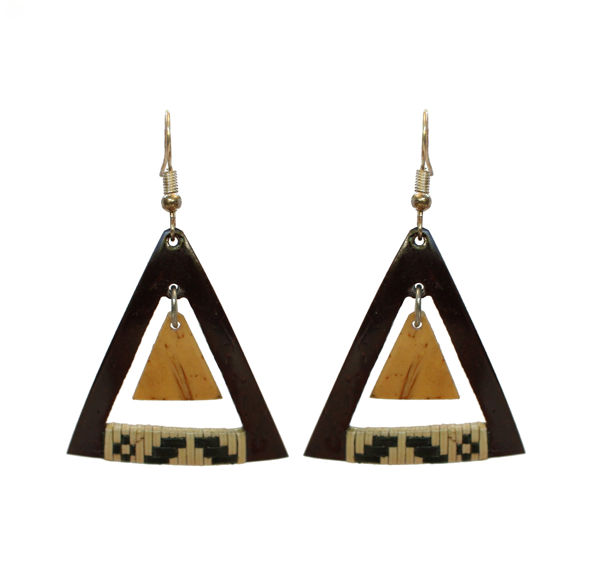 Coconut Earrings - Dangle Woven Triangle