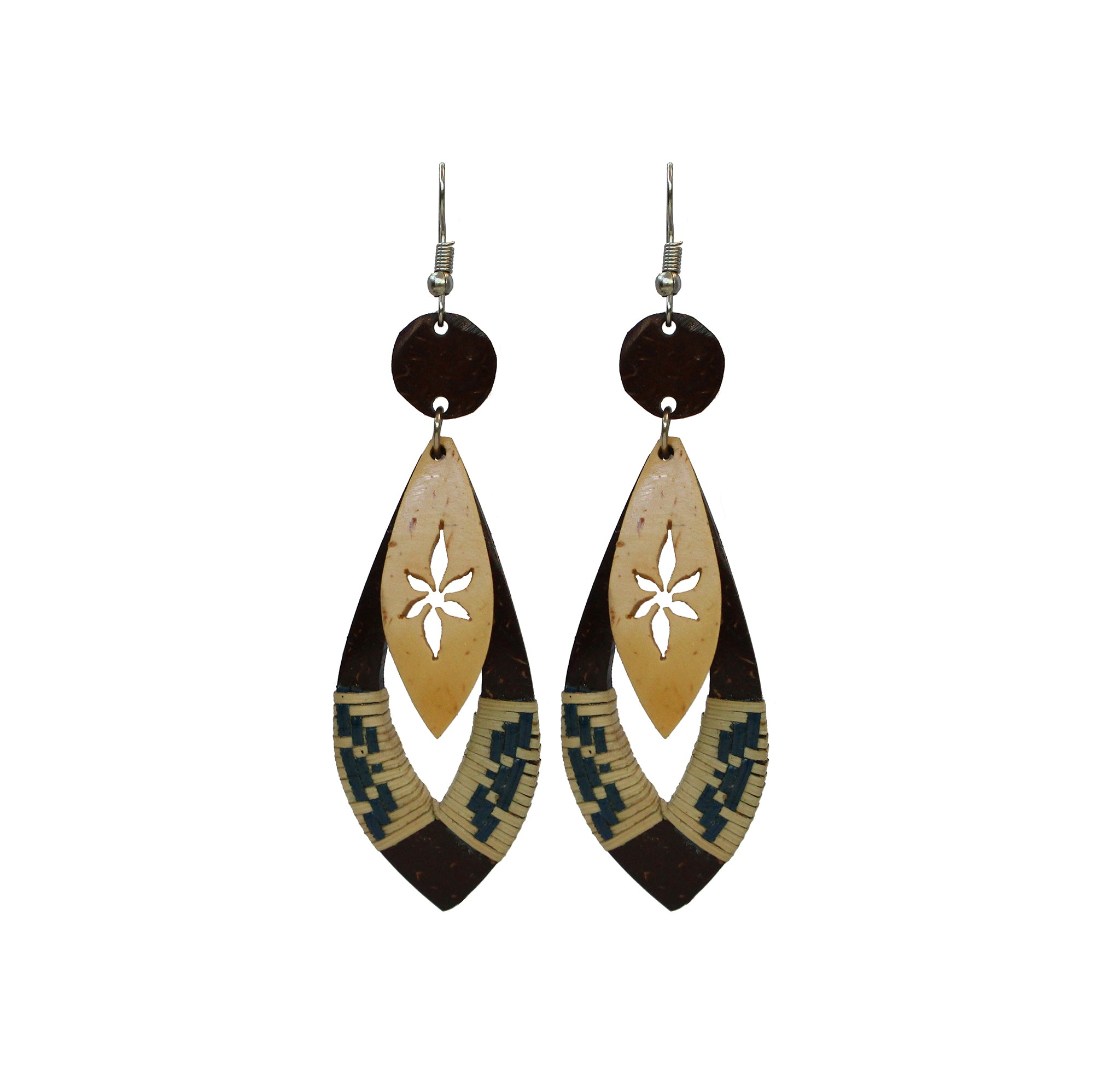 Coconut Earrings - Dangle Woven Drop
