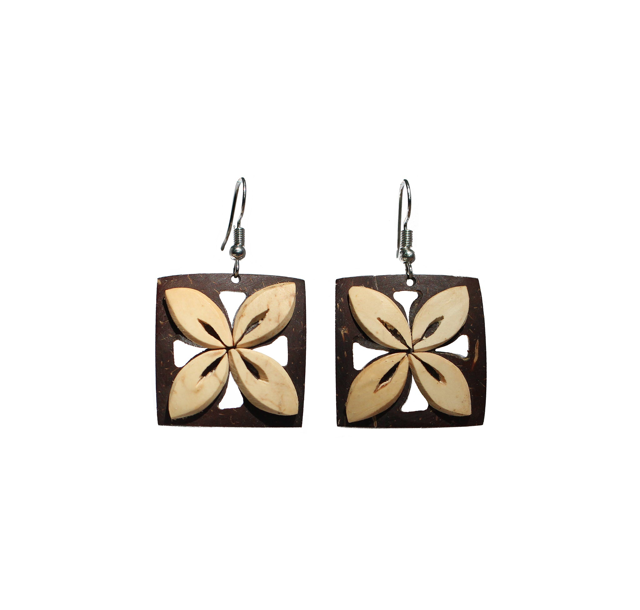 Coconut Earrings - Square Tapa