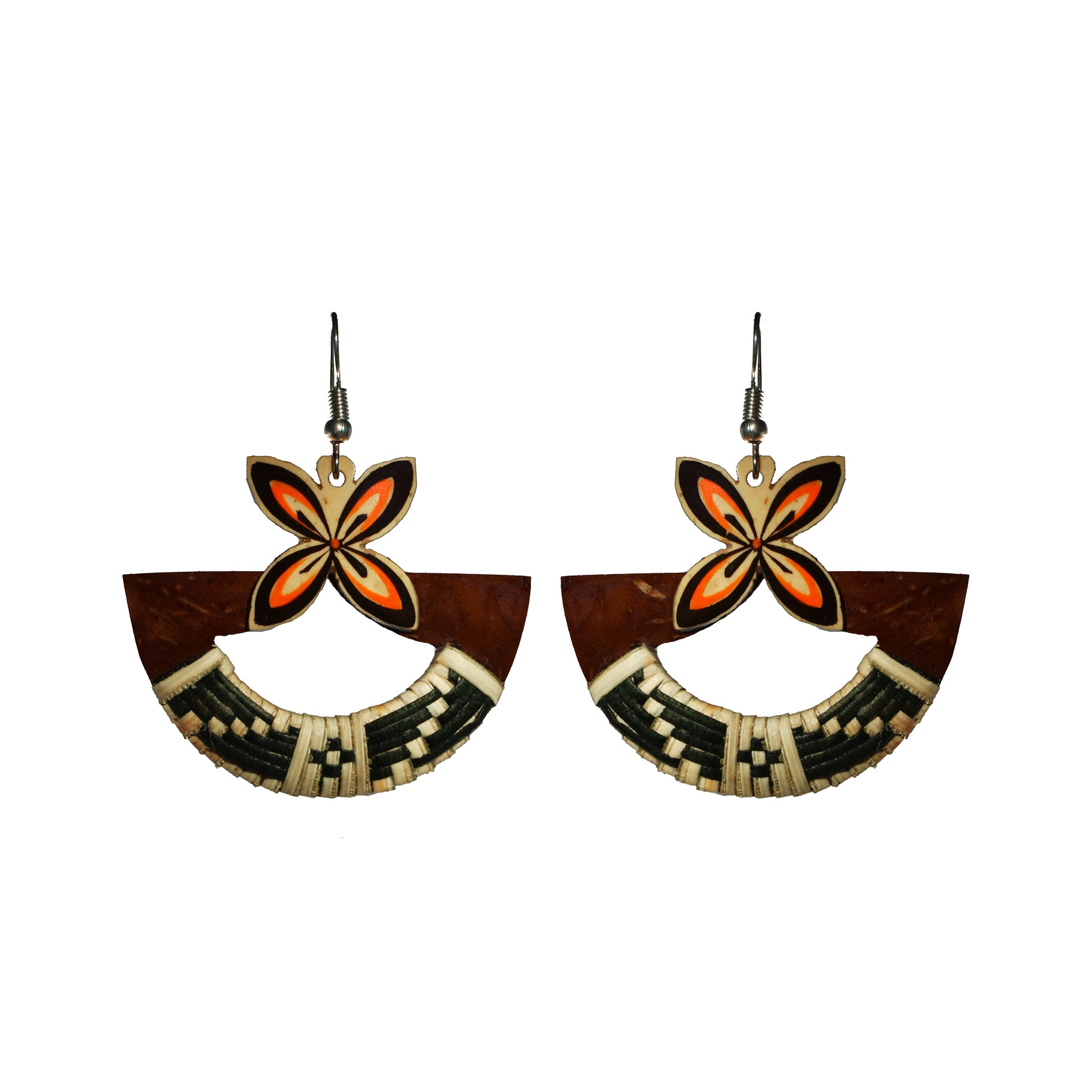 Coconut Earrings - Semi Circle Tapa