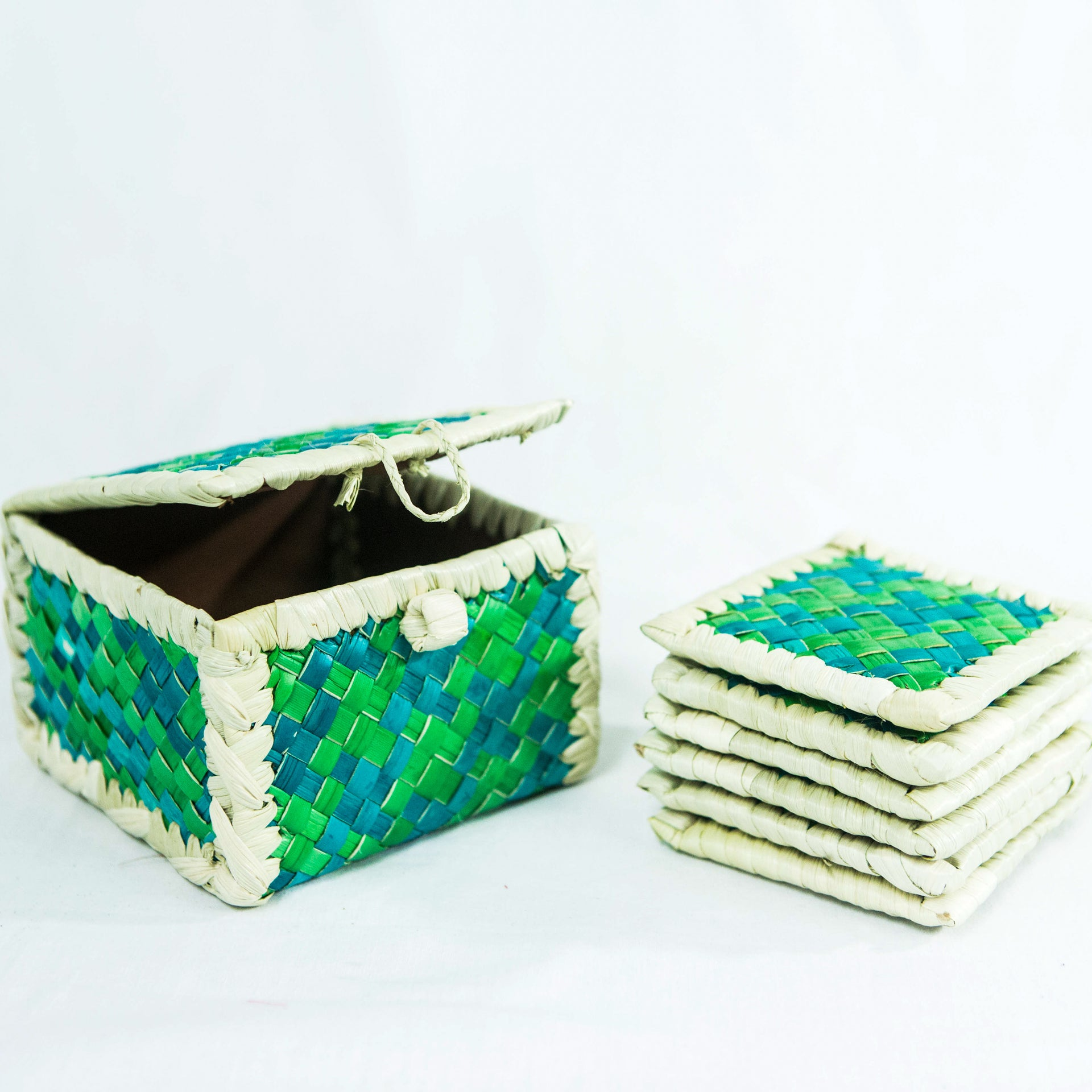 Coaster Box Set with Lid - Woven