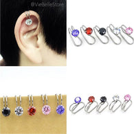 2 Pcs Stainless Steel Cubic Zirconia Non-Piercing Earring Clip