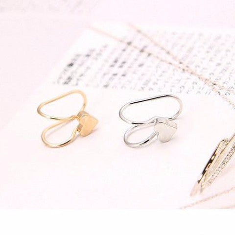 2 Pcs U-style No Hole Ear Cuff Clip on Earring - Heart