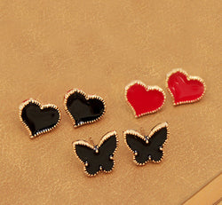 2 Pcs Heart, Butterfly Stud Earrings Black / Red