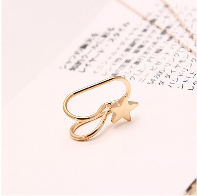 2 Pcs U-style No Hole Ear Cuff Clip on Earring - Star