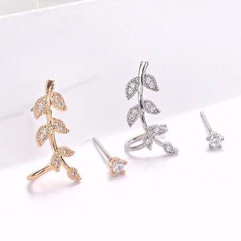 2 Pcs Real Gold Plated Leaf Ear Clip with Round Crystal Stud Earrings - Gold / Silver