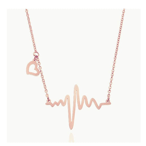 Stainless Steel Heartbeat Pendant Electrocardiogram Necklace