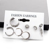 7Pcs/Set Bohemia Design Earring Set - Stud Earring and Ear Cuff