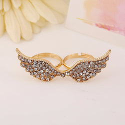 Double Finger Crystal Wing Ring - Silver / Gold