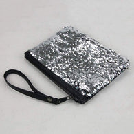 Black / Silver Reversible Sequin Cosmetic, Multifunctional Bag - High Quality