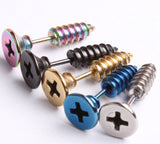2 Pcs Unisex Stainless Steel Screw Stud Earrings