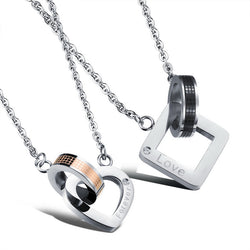 2pcs/Set Stainless Steel Couple Love Pendant Necklace - Valentine 's Day Gift