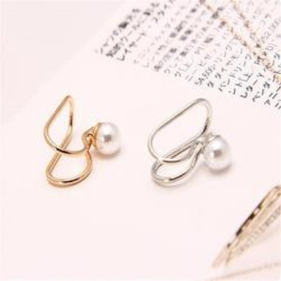 2 Pcs U-style No Hole Ear Cuff Clip on Earring - Pearl