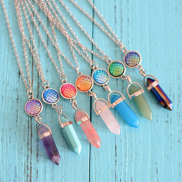 Natural Crystal Jewelry Multicolor Long Chain Hexagonal Mermaid Necklace