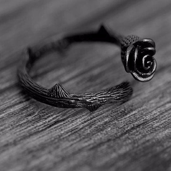 Black 925 Silver Rose Shaped Flower Adjustable Ring