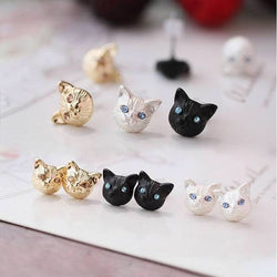 2Pcs Cute Little Cat Stud Earrings Silver / Gold