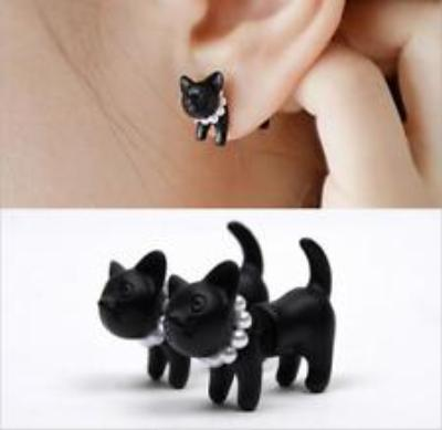 2 Pcs Black Cute Cat Earrings / 3D Double-Sided Earrings