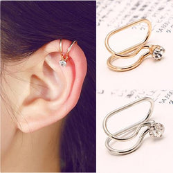 2 Pcs U-style No Hole Clip on Earring - Crystal