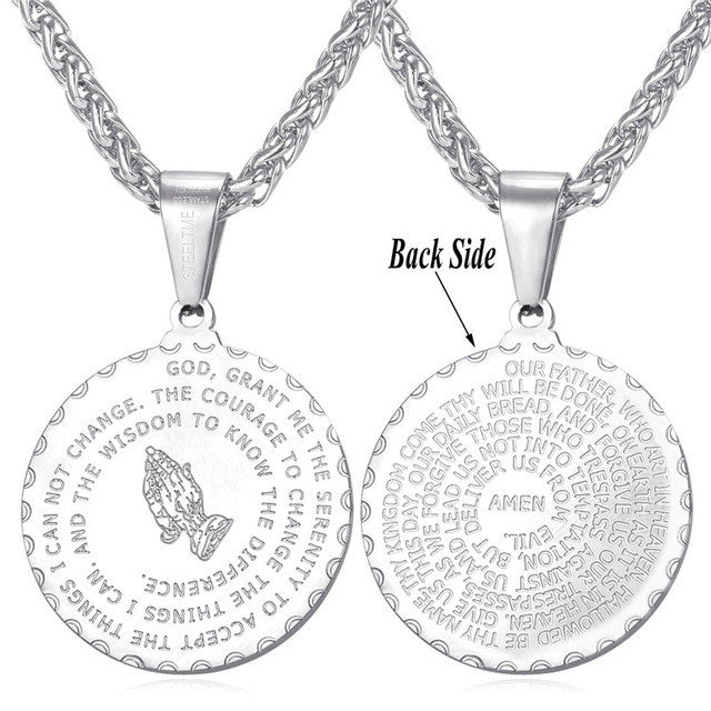 Inspirational jewelry serenity prayer and lords prayer 2 pendant inspirational jewelry serenity prayer and lords prayer mozeypictures Image collections