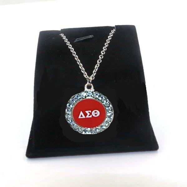 Delta Sigma Theta Pendant Necklace With Dst Symbol And White