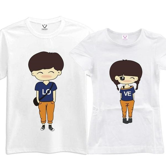 Cartoon Couples Lo Ve Matching Couples Tee