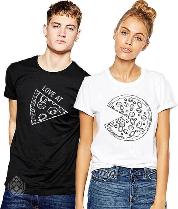 Love at First Bite Pizza Matching Couples Tee