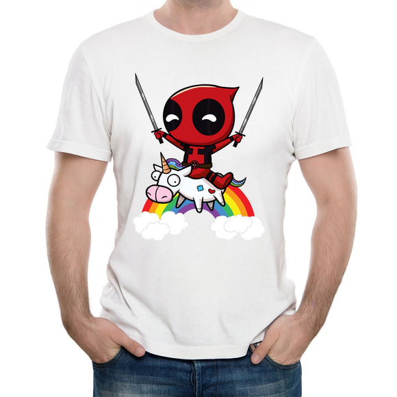 Deadpool Riding Unicorn T Shirt - Straight Up Fun