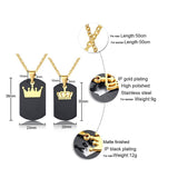 Dog Tag King & Queen Crown Matching Couples Necklace