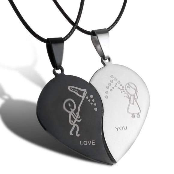 Catching Hearts Matching Couples Necklace