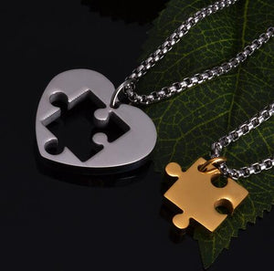 Puzzle Piece Matching Couples Necklace