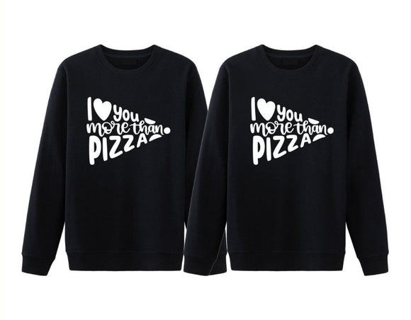 I Love You More Than Pizza Matching Couples Tee