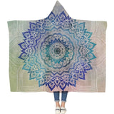 Mandala Designed Hoodie Blanket (Blue & Teal) - Straight Up Fun